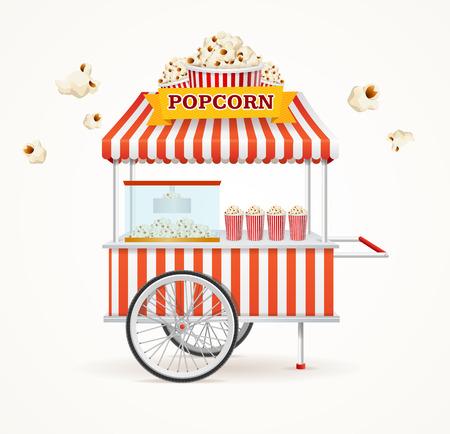 Pop Corn Street Vendor Mobile Store Isolated on White Background. Vector illustration