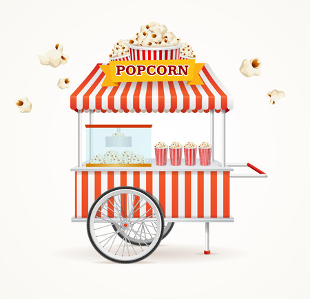Pop Corn Street Vendor Mobile Store Isolated on White Background. Vector illustration