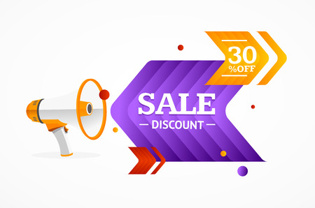 arrows vector: Sale Label Concept with Megaphone and Arrows. Vector illustration