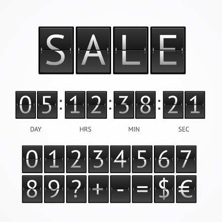 black boards: Counter Seasonal Sale Concept.  Lettering on Black Boards. Vector illustration