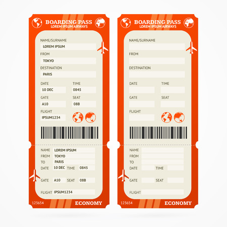 pass on: Red Boarding Pass Ticket Set. Vector illustration Illustration