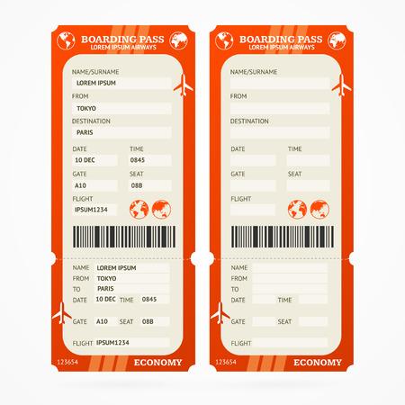Red Boarding Pass Ticket Set. Vector illustration Illustration