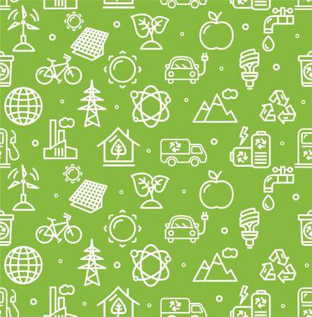 ecology background: Ecology Background Pattern on Green. Vector illustration