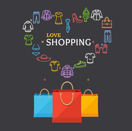 Shopping Clothing Season Concept avec sac en papier sur un Dark. Illustration vectorielle Vecteurs
