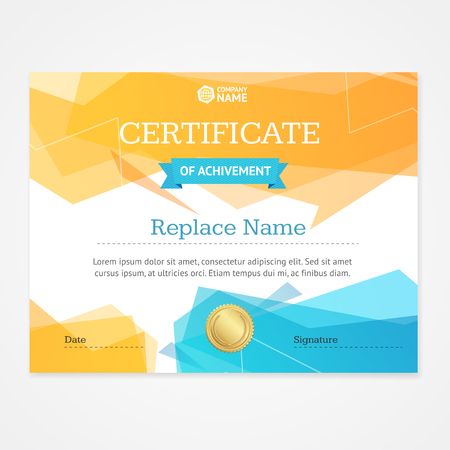 appreciation: Modern Certificate Template Horizontal With Geometric Pattern. Vector illustration
