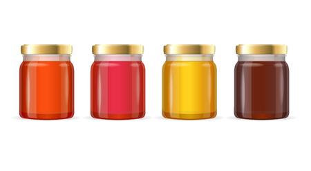 Color Jar Glas met Jam. vector illustratie