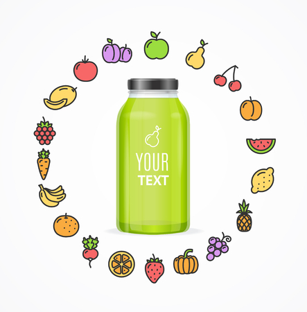 juice bottle: Juice Bottle Jar Template. Icons Of Fruit and Vegetables Around. Vector illustration Illustration