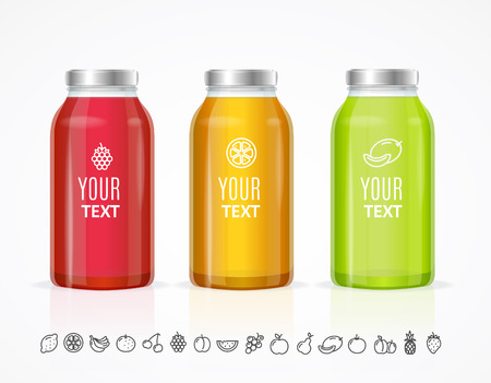 juice bottle: Colorful Juice Bottle Jar Template Set. Vector illustration Illustration