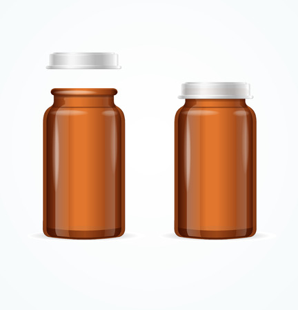 glass bottle: Medical Glass Brown Bottle. Open and Closed. Vector illustration