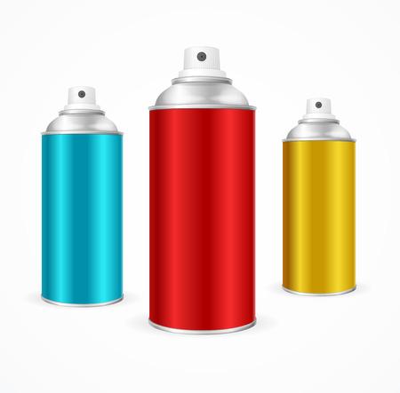 spray: Aerosol para latas de aluminio plantilla en blanco. recogida de envases. ilustración vectorial Vectores