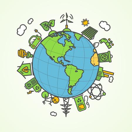 enviroment: Enviroment Concept. Save The Planet. Vector illustration