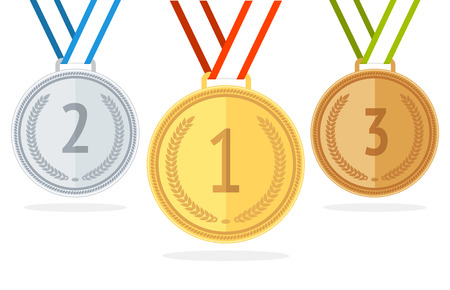 bronze medal: Gold, Silver and Bronze Medal Set. Flat Style. Vector illustration Illustration