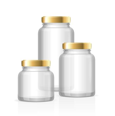 Glazen potten flessen leeg Transparant. Small, Medium en Large. vector illustratie Vector Illustratie