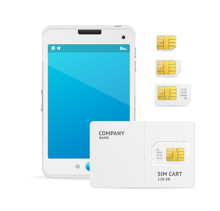 White Phone and Sim Card Template. Vector illustration