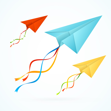 airplain: Paper Airplain Colorful Set with Ribbons. Vector illustration Illustration