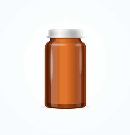 brown background: Medical Glass Brown Bottle on White Background. Vector illustration