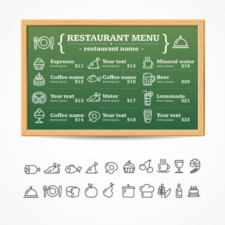 Menu Restaurant Green Board avec des icônes ensemble. Illustration vectorielle