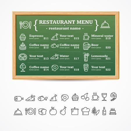 chalk board: Menu Restaurant Green Board with Icons Set. Vector illustration