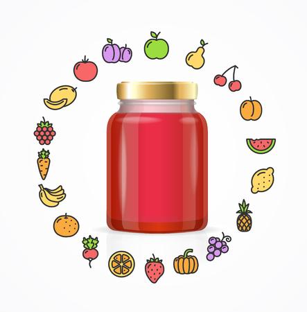 Jar Couleur verre avec de la confiture. Icônes de fruits et légumes. Autour. Vector illustration