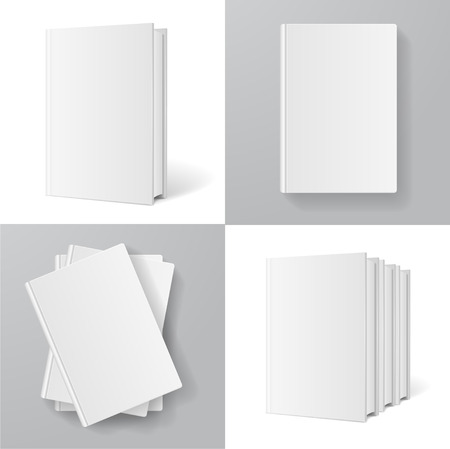 manual: Books Templates Set for Design and Branding on White and Grey Background. Vector illustration