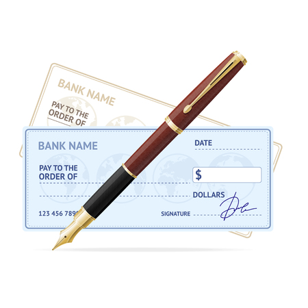 Business Concept with Bank Check and Gold Fountain Pen. Vector illustration Vettoriali
