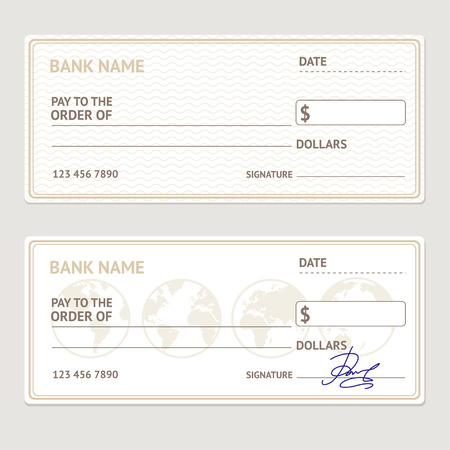 fake money: Bank Check Template Set. Blank Form with Sample Signatures. Vector illustration