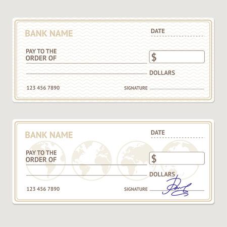 cheque en blanco: Cheque bancario conjunto de plantillas. Formulario en blanco con firmas de ejemplo. ilustración vectorial Vectores