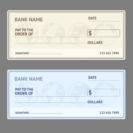 Bank Check Template Set with World Map on Grey Background. Vector illustration