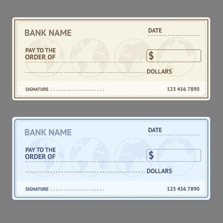 cheque en blanco: Plantilla cheque bancario establece con el mapa mundial sobre fondo gris. ilustración vectorial