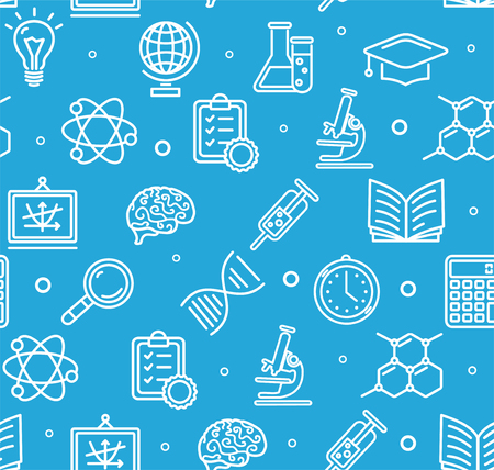 science education: Education Chemistry Science Background Pattern with Icons Set on Blue Background. Vector illustration