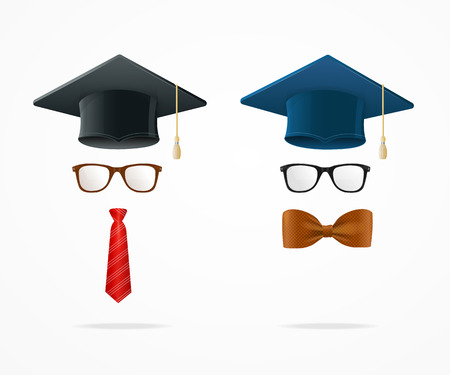 graduated: Professor Graduated Geek Sign Avatar Isolated on White Background. Vector illustration