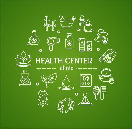 health spa: Spa Concept for Health Center and Clinic on Green Background. Vector illustration
