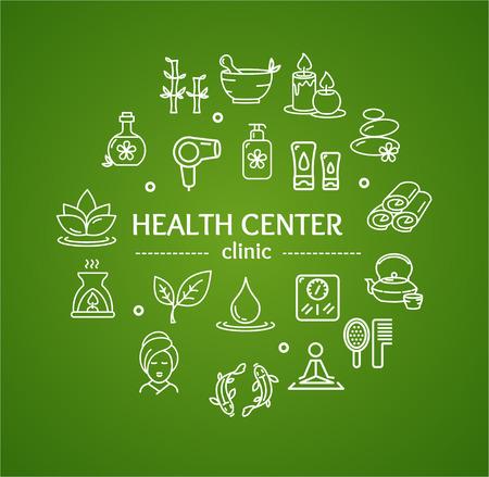Spa-Konzept für Health Center und Klinik auf grünem Hintergrund. Vektor-Illustration