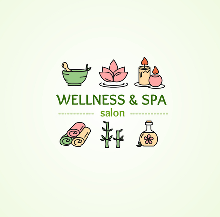 salon background: Spa Concept with Icons Set on Background for Salon. Vector illustration Illustration