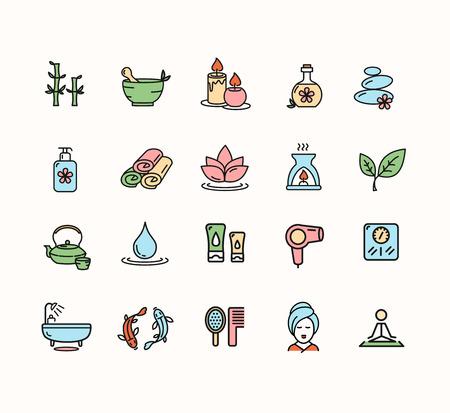 aseo: Spa conjunto de iconos de colores aislados sobre fondo blanco para el Web. ilustración vectorial Vectores