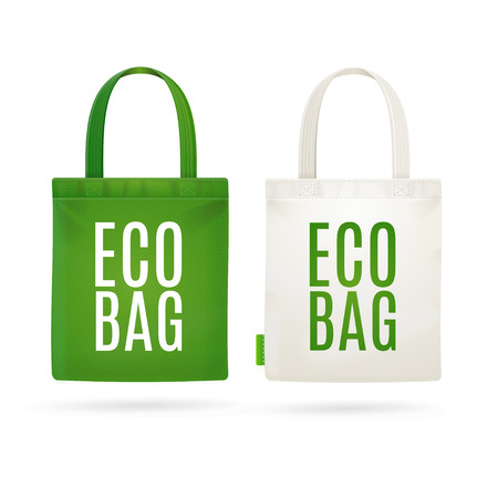 Eco Fabric Cloth Bag Tote Isolated on White Background. Care about the Environment. Vector illustration Vettoriali