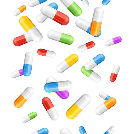 white pills: Falling Pills Color Capsules Medicine Background Pattern on White. Vector illustration Illustration