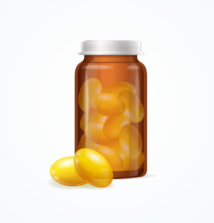 cod liver: Fish Oil Supplement Capsule and Brown Medicine Glass Bottle Isolated on White Background. Vector illustration Illustration