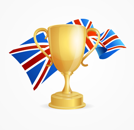 competitions: Greate Britain Winning Golden Cup Concept for Competitions Isolated on White Background. Vector illustration