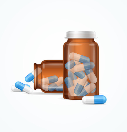 white pills: Pills Capsules in Medical Glass Bottle Isolated on White Background. Open and Closed Vial. Vector illustration