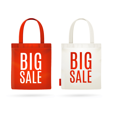 Sale Eco Fabric Cloth Bag Set Isolated on White Background. Vector illustration