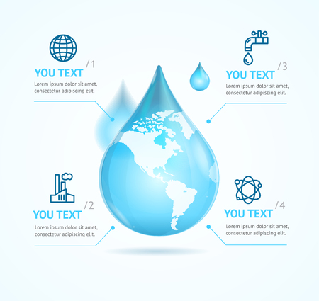 globe illustration: Water Globe Infographic Eco for Reports and Presentations. Vector illustration