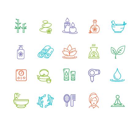 mobile website: Spa Outline Color Icon Set Design Elements for Beauty Business, Website and Mobile Applications. Vector illustration Illustration