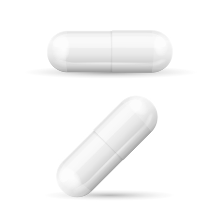 white pills: White Template Pills Capsules Isolated on White Background. Ready for Your Design. Vector illustration