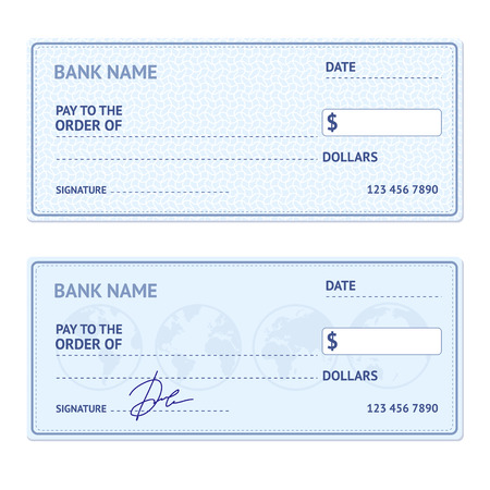 checkbook: Bank Check Template Set with Modern Design Isolated on White Background. Vector illustration