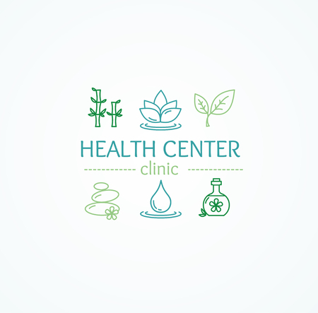Spa Concept with Outline Icons Set for Health Center and Clinic Isolated on White Background. Vector illustration