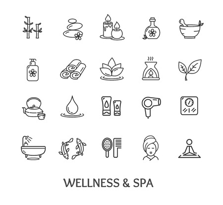beauty icon: Spa Icon Set Isolated on White Background. Design Elements for Beauty Business and Website. Vector illustration