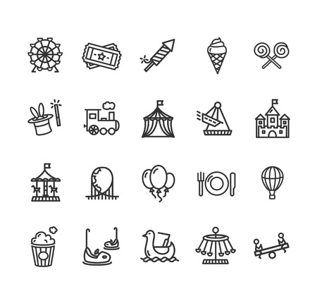 rollercoaster: Amusement Park Outline Icon Set Isolated on White Background. Vector illustration Illustration