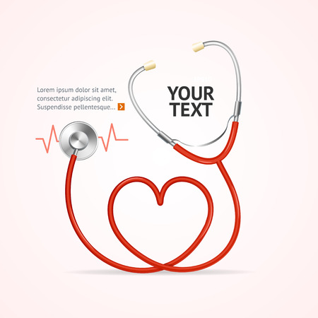 heart doctor: Red Stethoscope In Shape Of Heart with Place for Your Text. Vector illustration Illustration