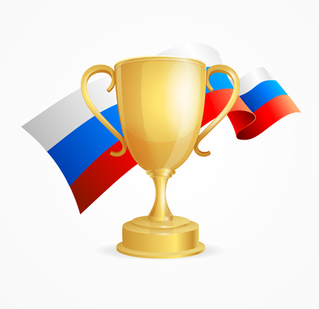 competitions: Russia Winning Golden Cup Concept for Competitions Isolated on White Background. Vector illustration